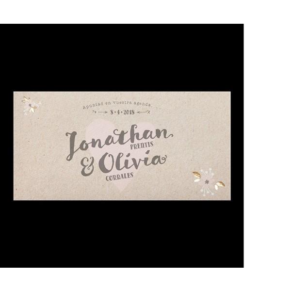 Invitación de boda romántica carta de amor