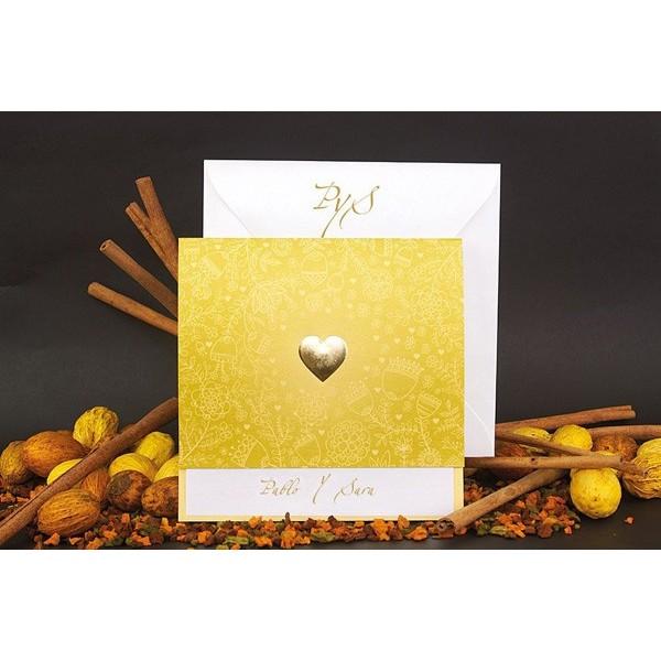 Invitación boda romantica estampado oro