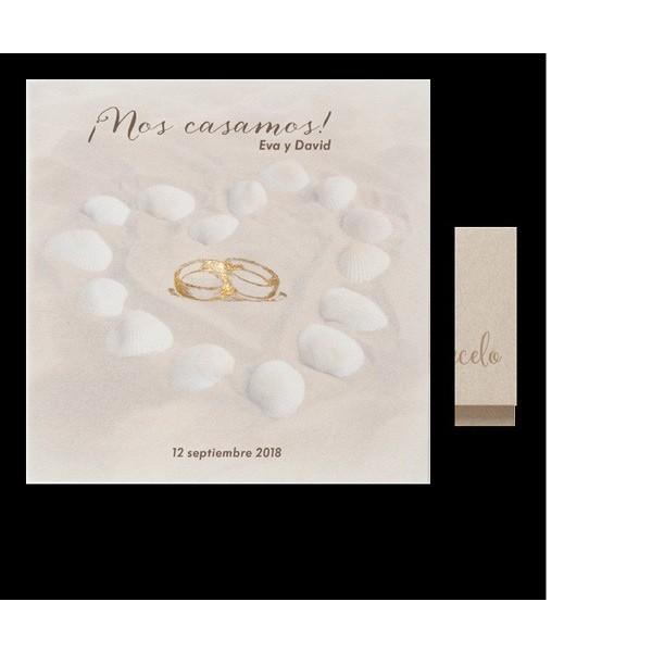 Invitación de boda romántica anillos corazón