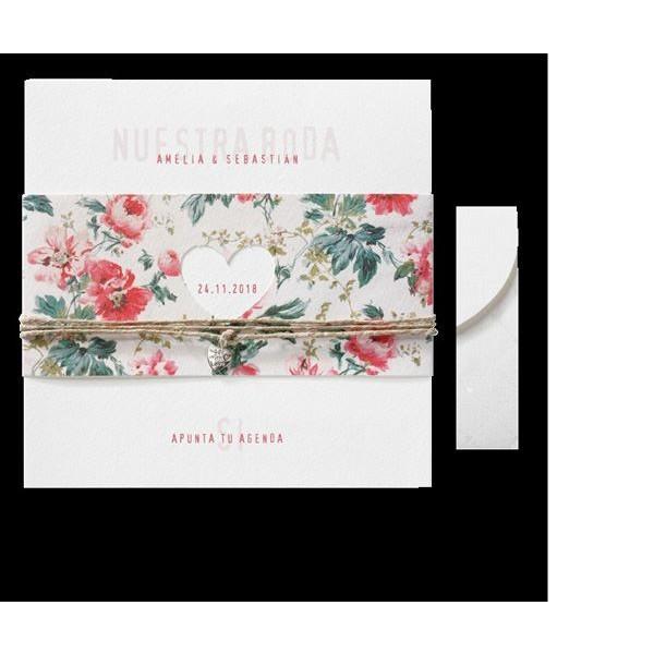 Invitación de boda vintage corazón floral