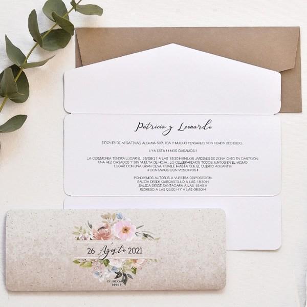 Invitación de boda corazón novios