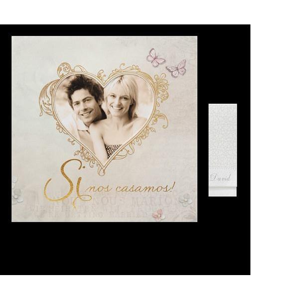 Invitación de boda romántica foto en corazón