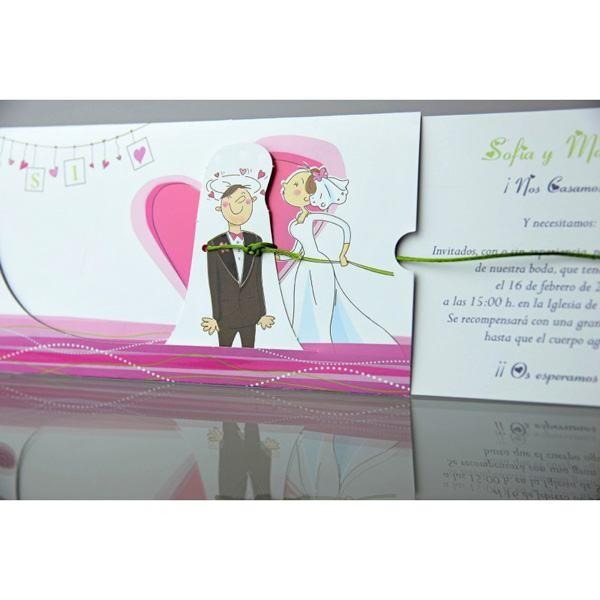 Invitación de boda creativa lazo