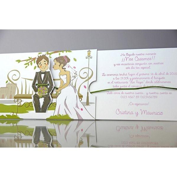 Invitación de boda creativa banquito
