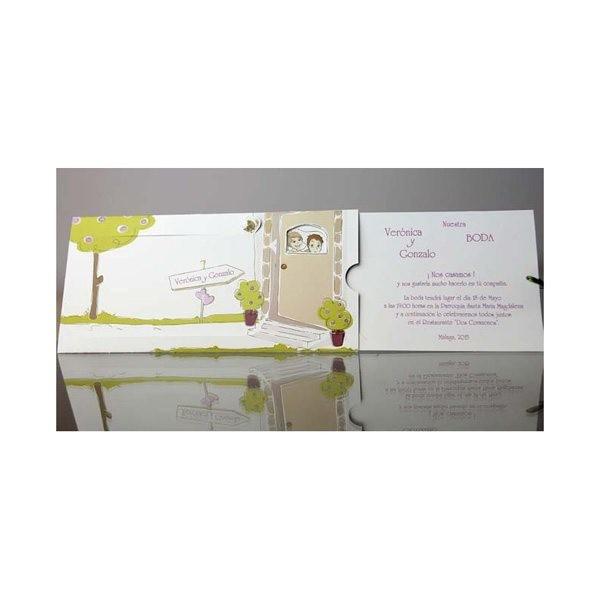Invitacion de boda creativa puerta