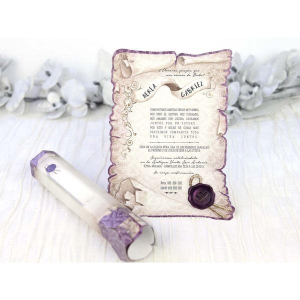 Invitacion de boda creativa pergamino lila