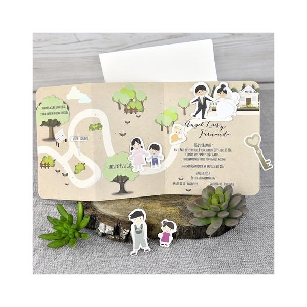 Invitación de boda creativa parque