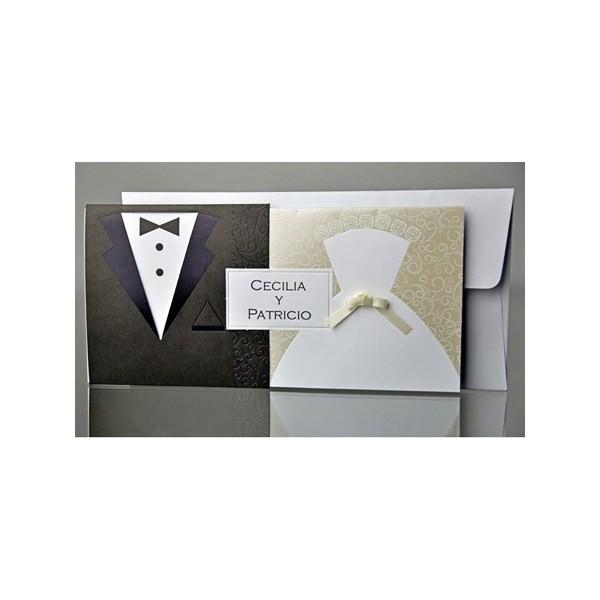 Invitación de boda creativa trajeado