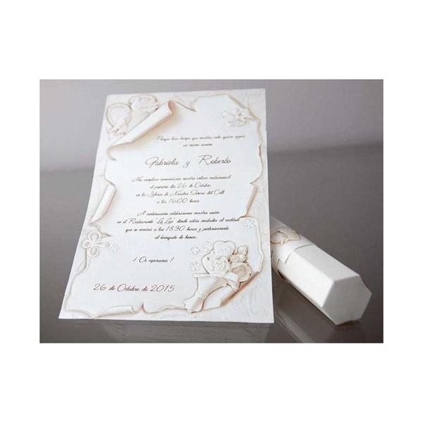 Invitacion de boda creativa pergamino blanco