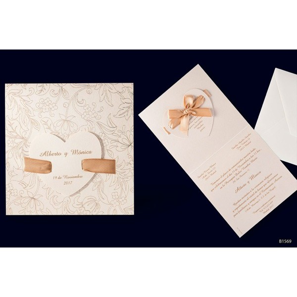 Invitacion boda romantica doble corazon