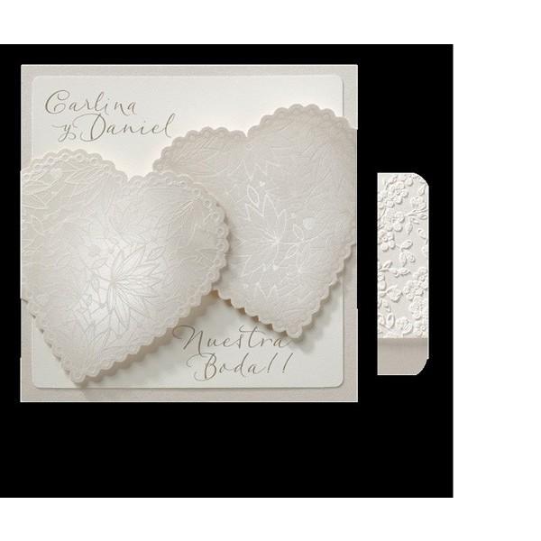 Invitación de boda romántica corazones sobrepuestos