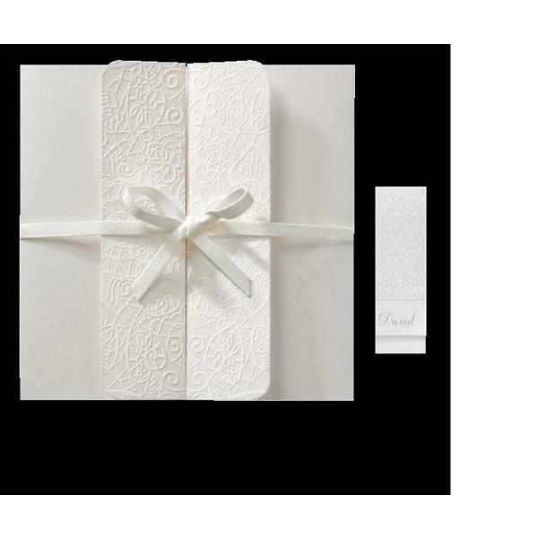 Invitación de boda vintage forma de sobre lazados
