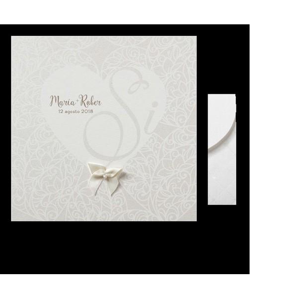 Invitación de boda romántica corazón si