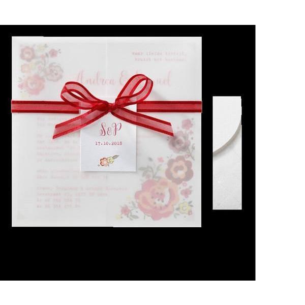 Invitación de boda vintage flor y lazo