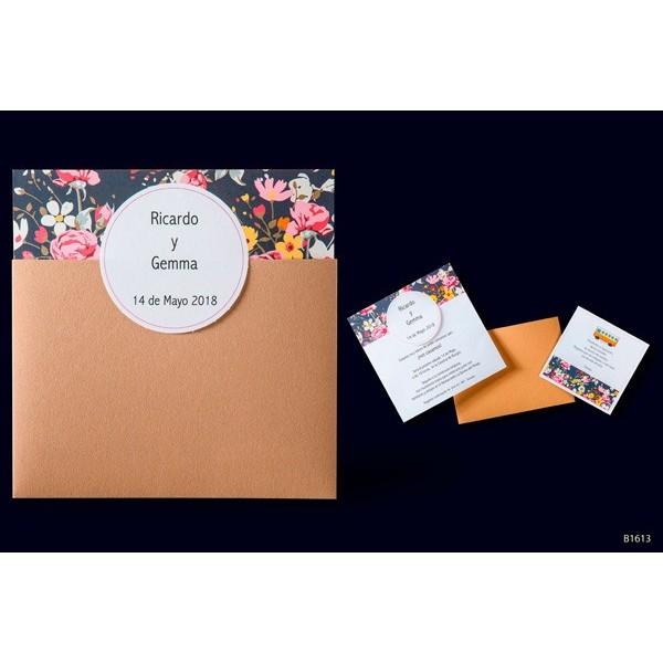 Invitacion boda vintage floral