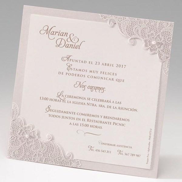 Invitación de boda original floral