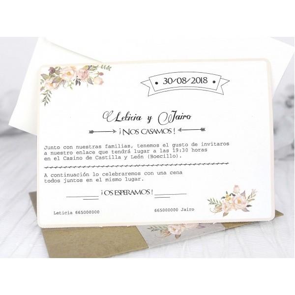Invitacion de boda vintage flores