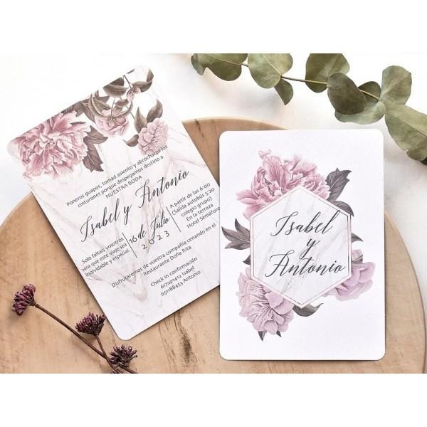 Invitación de boda florida