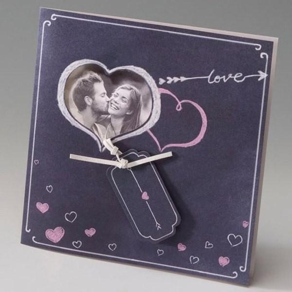 Invitación Boda romantica foto en corazon