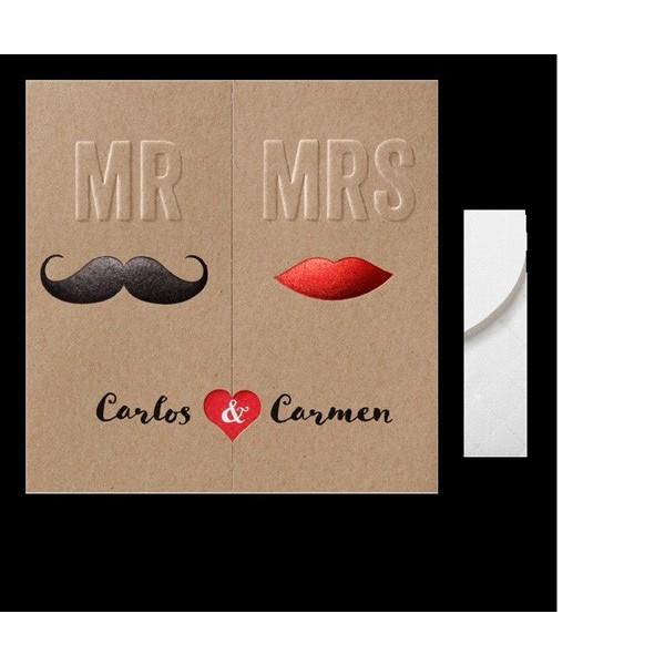 Invitación de boda vintage Mr. y Mrs.