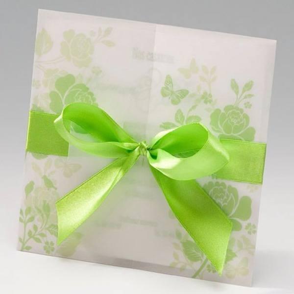 Invitación de Boda original lazo verde