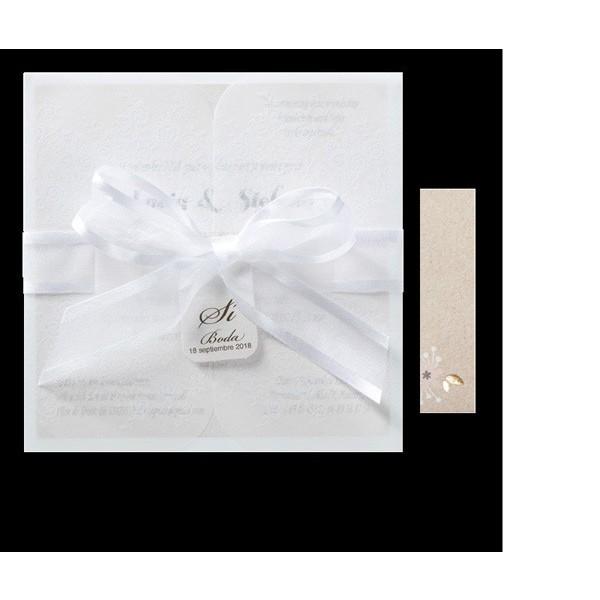 Invitación de boda original lazada blanca