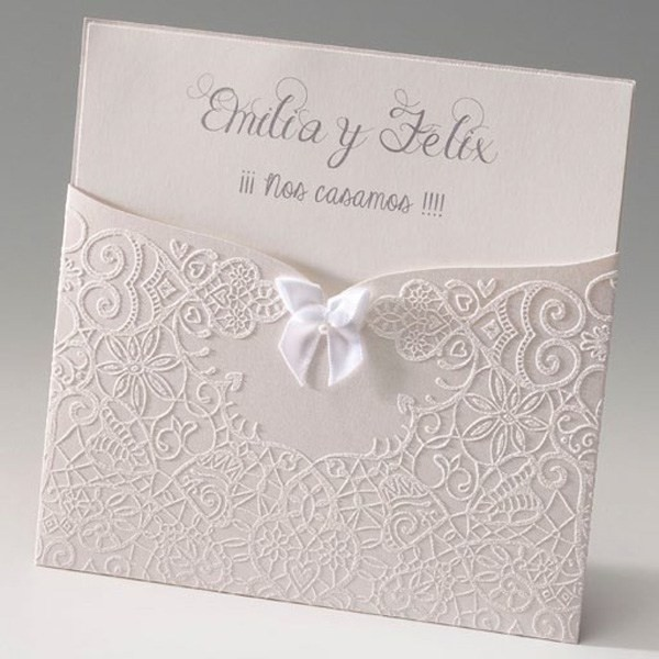 Invitación de boda vintage lazo blanco