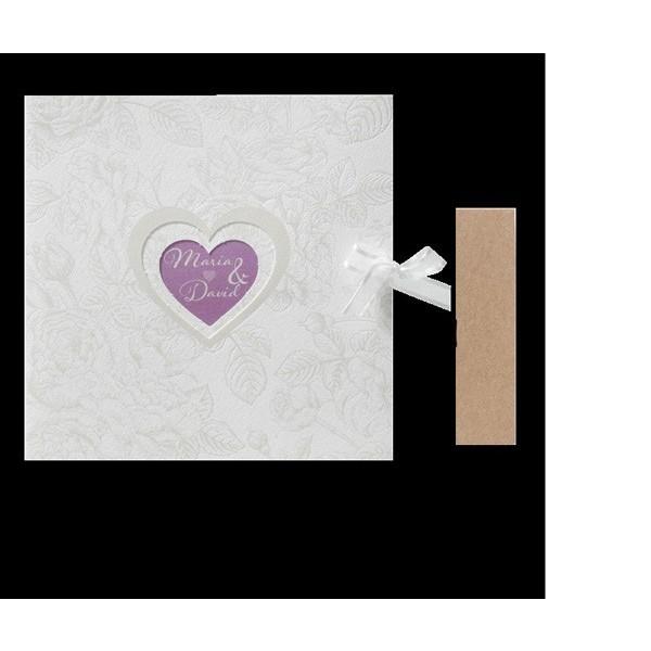 Invitación de boda romántica corazón morado