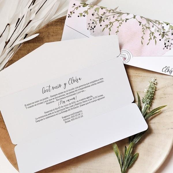 Invitación de boda love story