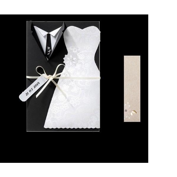 Invitación de boda creativa vestido novios
