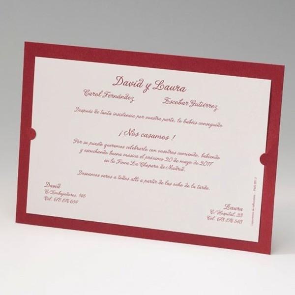 Invitación de boda original marco rojo