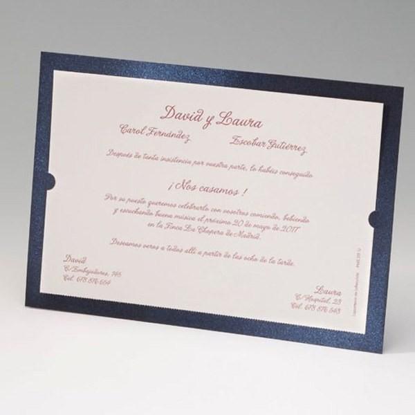 Invitación de boda vintage marco azul