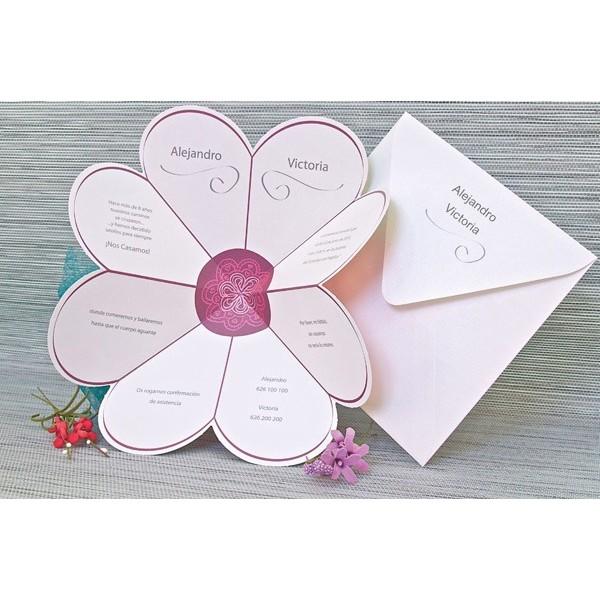 Invitación boda original margarita lila