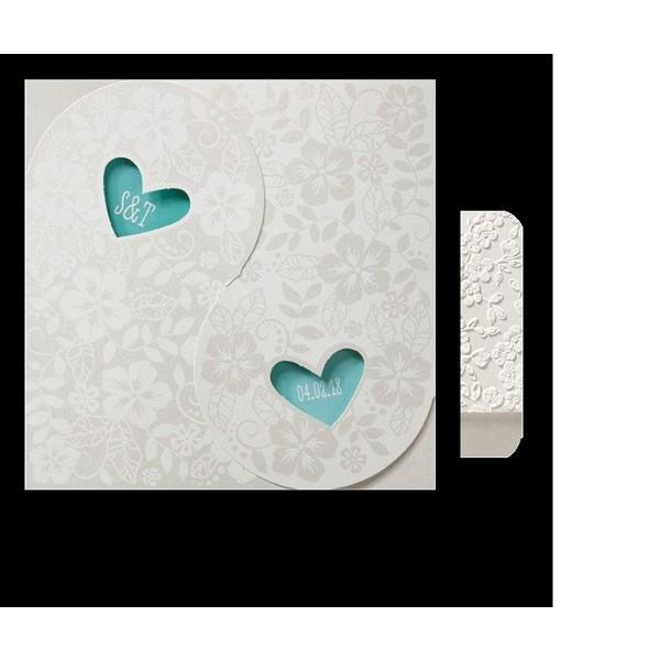 Invitación de boda romantica con dos corazones