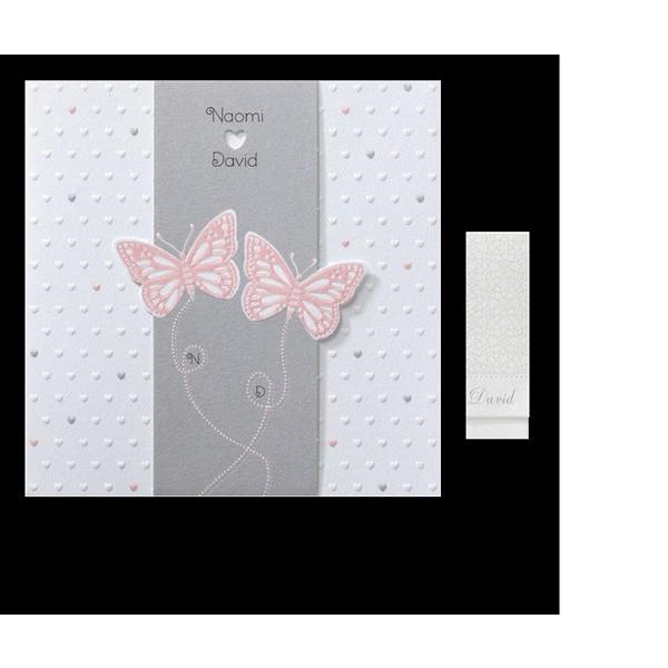 Invitación de boda romántica mariposas