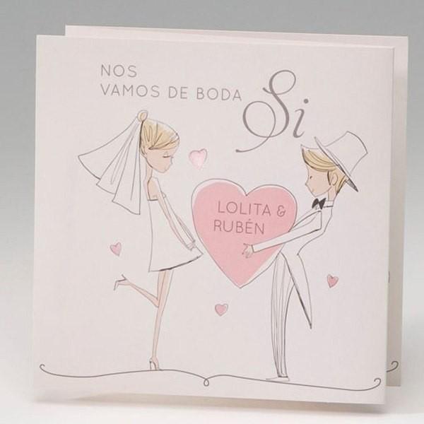 Invitación Boda romantica te regalo mi corazon