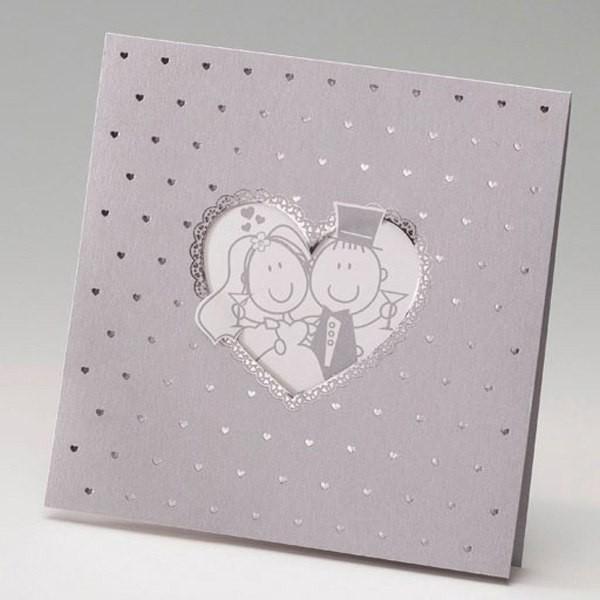Invitación Boda romantica mini corazones