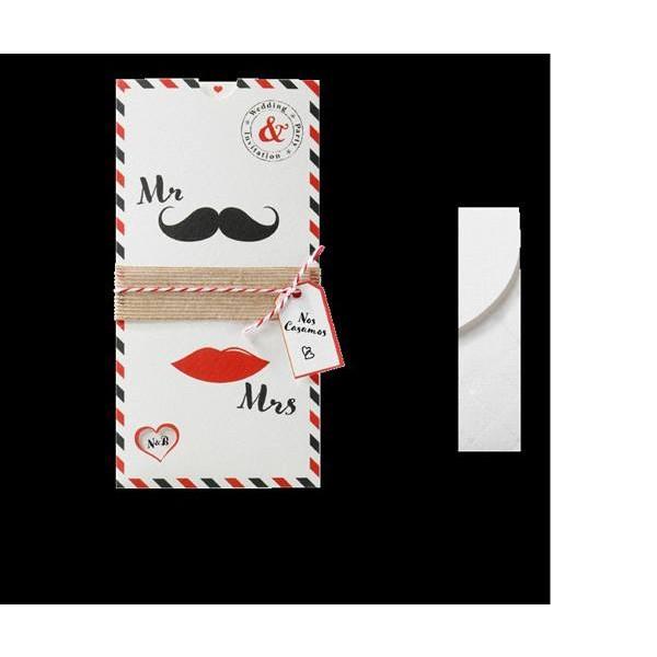Invitación de boda vintage labios