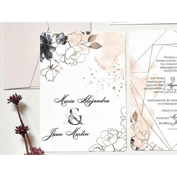 Invitación de boda nieves