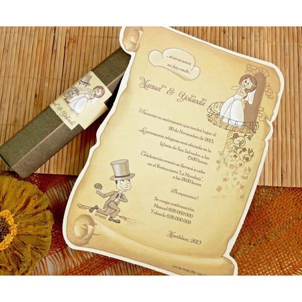 Invitacion de boda creativa pergamino