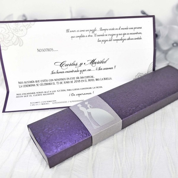 Invitacion de boda original cajetilla