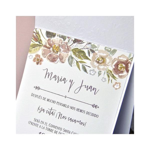 Invitación de boda original delicada