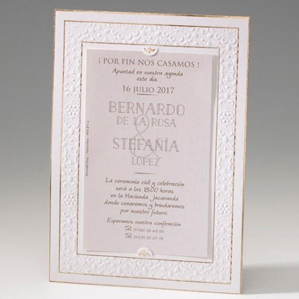 Invitación de boda original portafotos