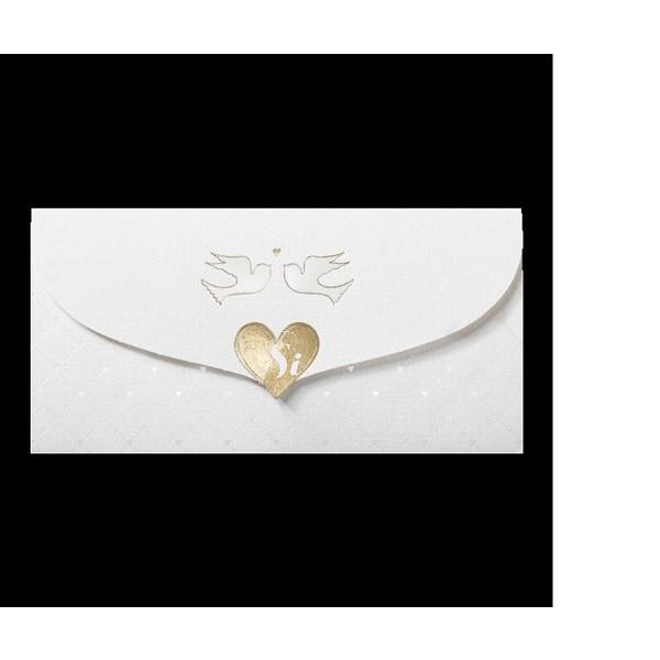 Invitación de boda romántica corazón palomas