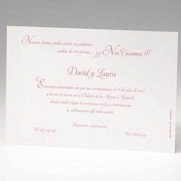 Invitación de boda original rectangular