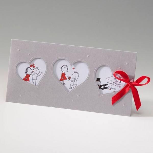 Invitación Boda romantica lazo rojo
