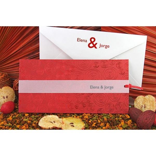 Invitación boda creativa estampado rojo