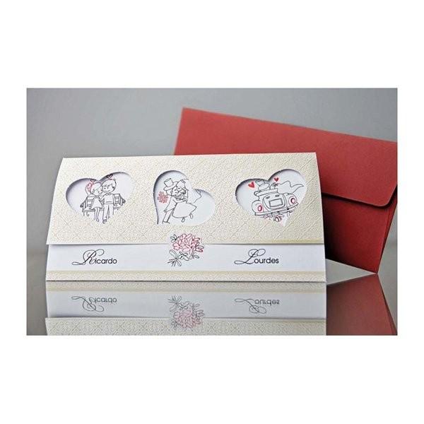 Invitacion de boda romantica tres corazones