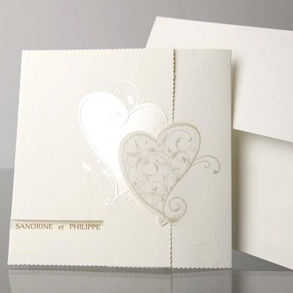 Invitacion de boda romantica dos corazones