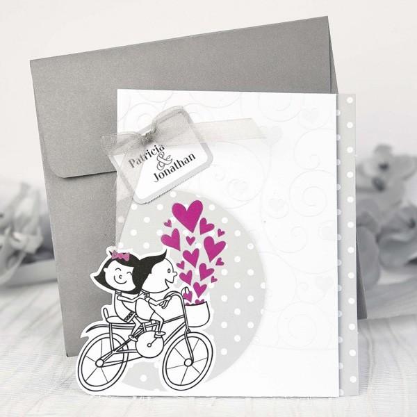 Invitacion de boda romantica bicicleta